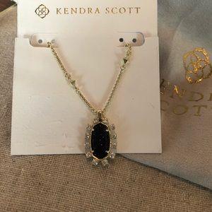 Kendra Scott Brett Necklace in Blue Goldstone -New